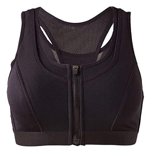 Starker Halt Frauen Nahtlose Sport Reißverschlüsse BH Durchlässig Sport Weste Netze Quakeproof Unterwäsche(schwarz,L) ()