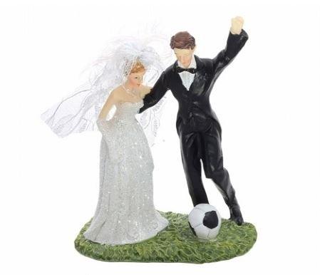 Party Deco Décoration mariés avec ballon de football, Résine, Blanc et Noir