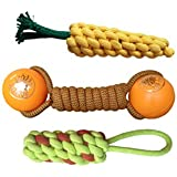 W9 Combo of 3 Durable Pet Teeth Cleaning Chewing Biting Knotted Small Puppy Toys -100% Natural & Safe Cotton