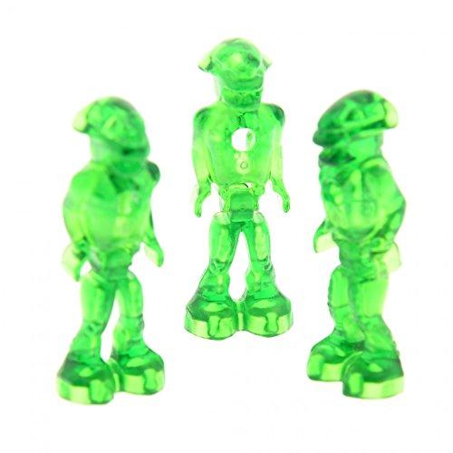 3 x Lego System Figur Mars Mission Alien transparent grün Körper Glow In Dark leuchtet im Dunkeln Set 7646 7690 7694 7697 7647 7644 mm001 (Lego Mission Mars-sets)