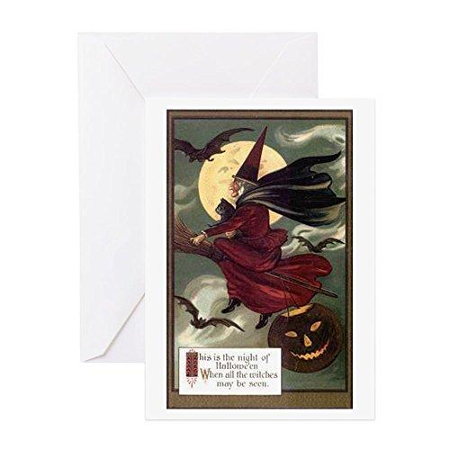 age Halloween Flying witc–Grußkarte, Note Karte, Geburtstagskarte, innen blanko, glänzend (Halloween Ephemera)