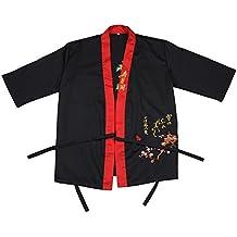 aihometm profesional chef chaqueta de estilo japonés uniformes para sushi Shop Camarero Camarera ropa de trabajo mono para cocina japonesa restaurantes (Negro, Darkblue), Algodón/poliéster, negro, large