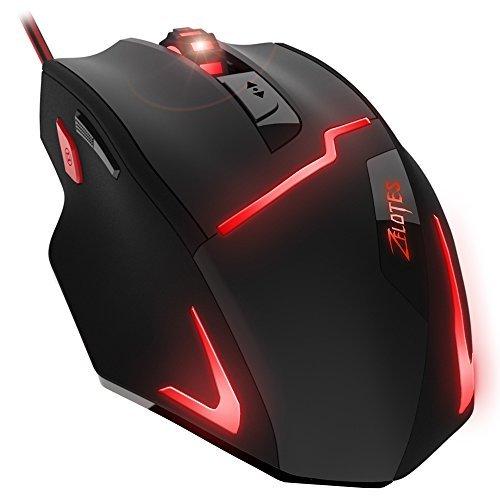 Dland mouse da gioco 12 pulsanti usb mouse ottico da gioco professionale ad alta precisione con cavo usb, 4000 dpi, compatibile con windows 7, 8, xp, vista, me, 2000 (nero).