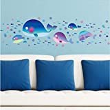 Namefeng Cartoon Blue Whale Wandaufkleber Nette Fische Im Meer Kinderzimmer Wandaufkleber Für Kinderzimmer Badezimmer Aufkleber Wand-Dekor 30X45 cm