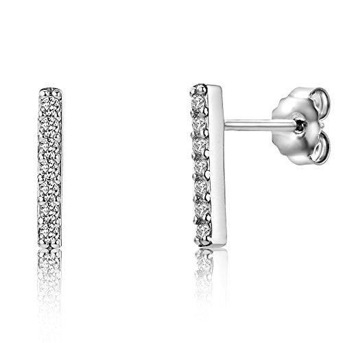 Miore Damen Sterling Silber (925) Designer Ohrhänger Ohrringe mit Brillantschliff Zirkonia
