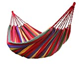 #7: DEZIINE Cotton Striped Foldable Hammock/Hanging Bed for Camping & Outdoor Activities (for Single Person) - Multicolor