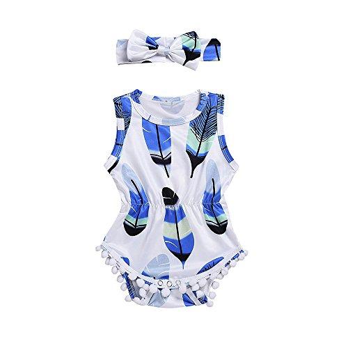 jieGREAT ❤❃ Kleiden Räumungsverkauf ❤❃, 2PCS Infant Kids Baby Girls Sleeveless Feather Jumpsuit + Headband Set