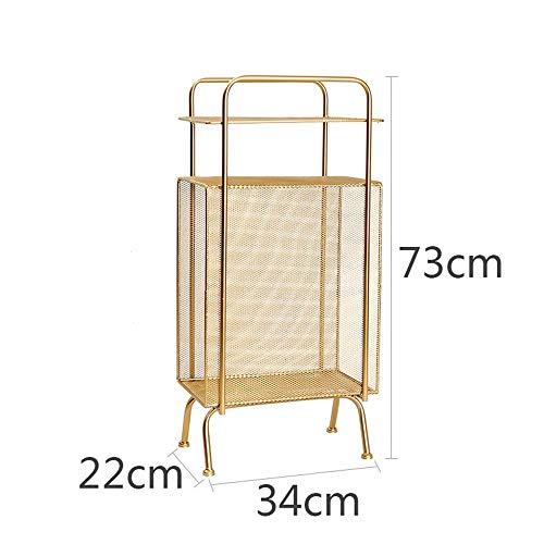 Bücherregale YANFEI, Floor Modern Minimalistische Ecke, Regal Schmiedeeisen Nachttisch Lagerregal Wohnzimmer Multi-Layer-Magazin Rack (Farbe : Gold)