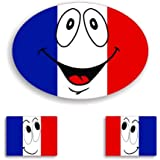 3X French - France Flag Smiley Voiture Autocollant / Car Stickers