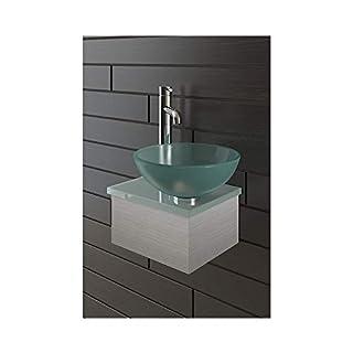 Alpenberger Satinierte Glaswaschschale Ø 31 cm mit Satinierte Waschtischplatte 32 cm