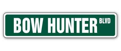 Neuheit Geschenk Bow Hunter Street Schild Pfeil Hunt Jagd Tier Armbrust Spiel Blaze Target Geschenk Yard Dekorative Aluminium Metall Türschild für Schlafzimmer, Büros