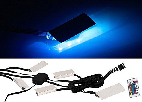 Lunartec Vitrinenbeleuchtung: LED-Glasbodenbeleuchtung mit Fernbedienung, 4 Klammern mit 12 RGB-LEDs (Vitrine Beleuchtung Nachrüsten)