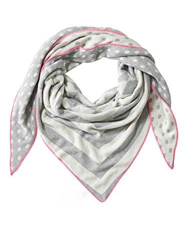 Zwillingsherz Dreieckstuch mit Kaschmir - Hochwertiger Schal mit Punkte-Streifen Muster für Damen Jungen und Mädchen - XXL Hals-Tuch und Damenschal - Strick-Waren für Winter 150cm x 120cm - hgr