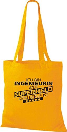 Shirtstown Stoffbeutel Ich bin Ingenieurin, weil Superheld kein Beruf ist gelb
