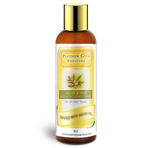 Premium Organic Conditioner By Platinum Gold Essentials Sulfate Free Pure Mango and Coconut All Natural Morocco Argan and Hemp Oils Anti-aging Ingredients.