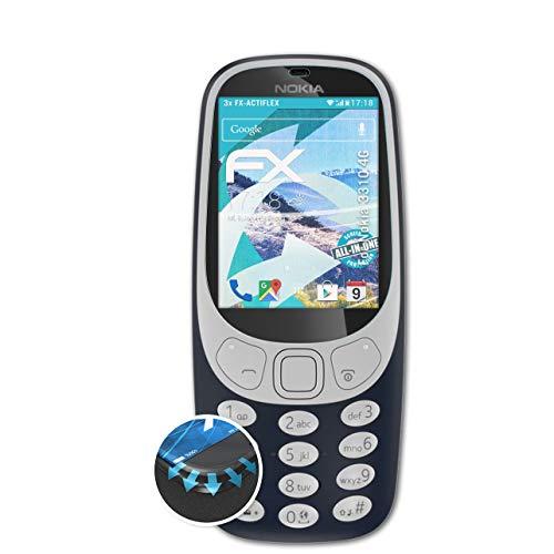 atFolix Schutzfolie passend für Nokia 3310 4G Folie, ultraklare & Flexible FX Bildschirmschutzfolie (3X)