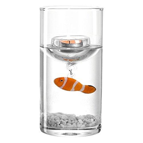 Leonardo Mare Vase mit Fisch, Blumenvase, Windlicht, Teelichthalter, Schwimmkerze, Maritim, Dekoration, 20.5 cm, 085097 -