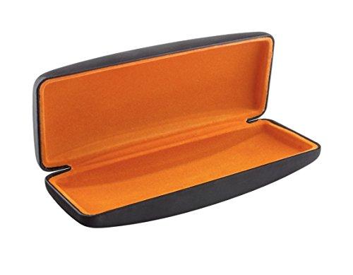 Edison & King Brillenetui mit Samteinlage in verschiedenen Farben (Metallic Schwarz/Orange)