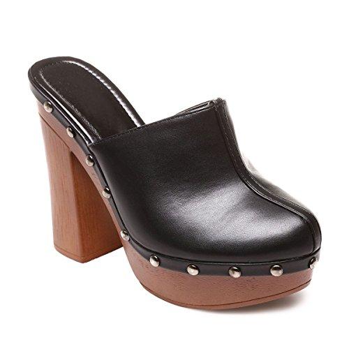 La Modeuse - Mules aspect cuir à plateforme et talon carré épais Noir