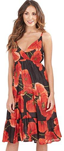 Damen Pistachio Sommer Punkte & Blumen Midi Baumwolle Strand Sommerkleid - Rote Mohnblumen, XL - EU 48-50