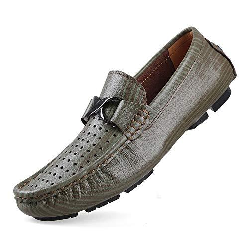 Vamp Kleid (HILOTU Oxford Schuhe Für Männer Bequeme Formelle Schuhe Gleiten Sie Auf Stil PU Leder Runde Zehe Low Top Big Size Atmungsaktiv Hohl Vamp Schuhe (Color : Grün, Größe : 36 EU))