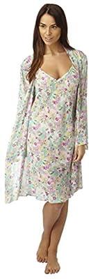 Ladies Satin Chiffon Kimono Wrap Chemise Floral Cream Pink Aqua Negligee Oriental Style Robe Size 10 12 14 16 18 20