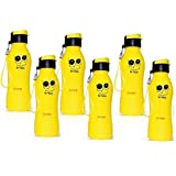 ARVANA Return Gifts for Kids Birthday Party Plastic Printed Yellow Water Bottle Gift for Boys/Girls for Children - ( 6 Pcs )