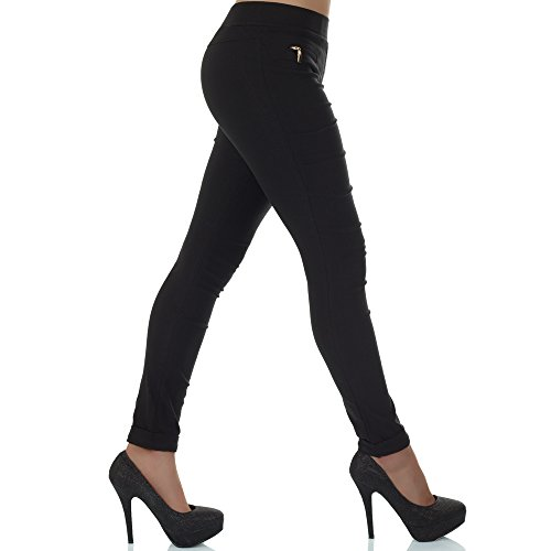 malucas Damen Hose Stoffhose Stretch Röhre Skinny Leggings Jeggings Treggings Leggins Slim Fit Schwarz