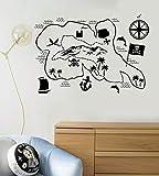 Stickers muraux décoratifs pirate au trésor carte dessin animé modèle stickers muraux autocollants verts Pvc imperméable stickers muraux intérieurs amovibles...