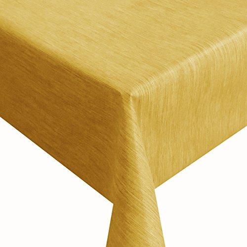 Wachstuch Robuste Leinen Prägung Pro RUND OVAL ECKIG Breite & Länge wählbar Gelb Eckig 140 x 170 cm abwaschbare Tischdecke Gartentischdecke