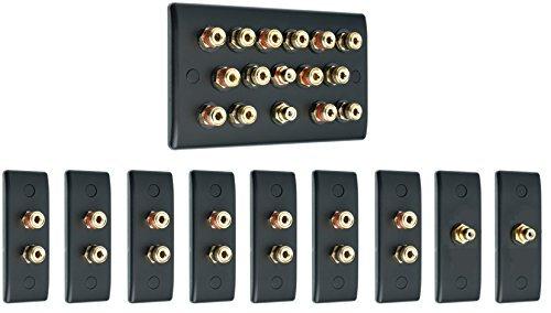 7.2 Audio/AV Surround Sound Lautsprecher Wand Abdeckung Set - slimline matt schwarz mit goldenen Bindung Pfosten + 2 rcas + Metall Rücken -boxen. Kein Löten erforderlich (Draht-abdeckungen Für Wand)