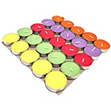 Puja N Pujari Colored Wax Tea Light Candles Pack of 25 (Scented)