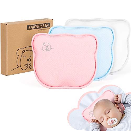 Tampen Babykissen · beugt Plattkopf vor · wechselbare Kissenbezüge · Säugling Lagerungskissen · orthopädisches Anti-Plattkopf-Kissen · gegen Plagiozephalie (Flachkopf-Syndrom) · Rosa