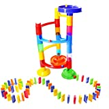 Toyzabo Building And Stacking Construction Toys Fun Educational Marble Run Set For Kids Ages 3 Above Race Tornado Domino Play (40 Pieces)
