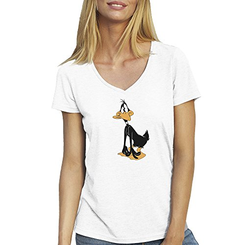 daffy-duck-confussed-blanca-t-shirt-camiseta-cuello-v-para-la-mujer-small