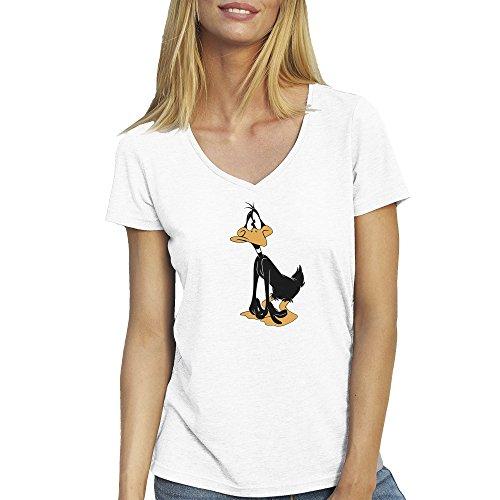 daffy-duck-confussed-weisse-t-shirt-fur-damen-mit-v-ausschnitt-medium