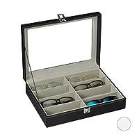 Relaxdays brillendoos voor 8 brillen, opbergdoos zonnebrillen, 8,5x 33,5x24,5 cm, kunstleer, organizer, zwart