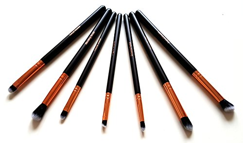 Make Up Eye Brushes Set - Eyeshadow Eyeliner Blending Crease Kit - Best Choice 7 Piece Essentials - Pencil, Shader, Tapered, Definer - Vegan Synthetic Bristles That Last Longer, Apply Better Makeup & Make You Look Flawless!