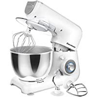 Excelvan Electric Food Stand Mixer 1000W 5 Speed with 4.0L Stainless Steel Bowl, Beater, Dough Hook, Whisk, Splash Guard (White/Grey)