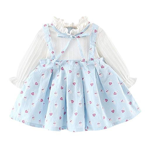 Girls Clothes, SHOBDW Toddler Kid Baby Girl Baby Fake Two Piece Strawberry Flower Bow Dress Long Sleeve Printed Party Princess Dresses Tops