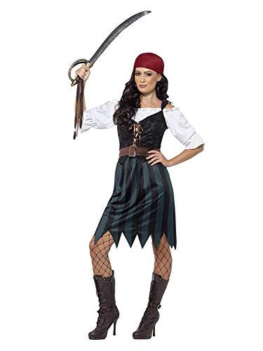 Gürtel Piraten Kostüm Schwert - Smiffys 45491M - Damen Piraten Werftarbeiterin Kostüm, Shirt, Weste, Rock, Gürtel und Kopftuch, Größe: 40-42, blau