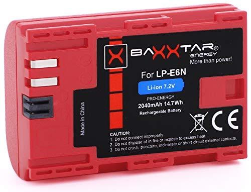 Baxxtar Bundlestar PRO - Batteria di qualità per Canon LP-E6N (2040mAh Reale) con Infochip, Sistema Intelligente, nuovissima Generazione - Canon EOS R 80D 70D 60D 60Da 7D 6D I II 5D I II III IV
