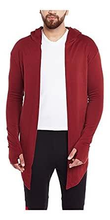 FUGAZEE Men's Cotton Open Long Thumbhole Cardigan Red_Medium