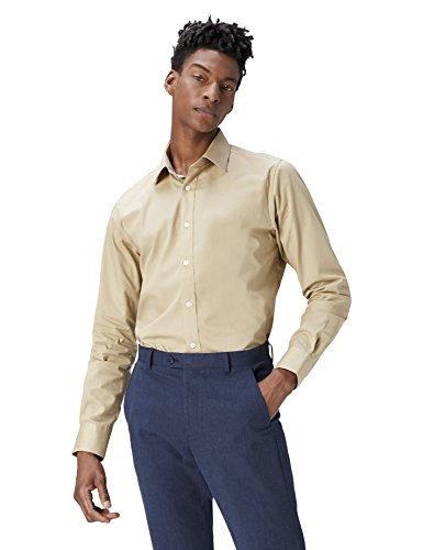 T-shirts camicia regular fit in cotone uomo, marrone (caramel 513), small (taglia produttore: 15.5)