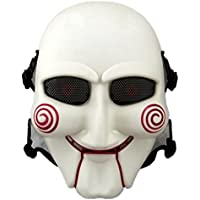 haoyk máscara de calavera máscara de cara máscara de protección Gear Tactical Airsoft y al aire libre CS juego de guerra máscara Scary Ghost máscara para Halloween Cosplay máscara, White with Red
