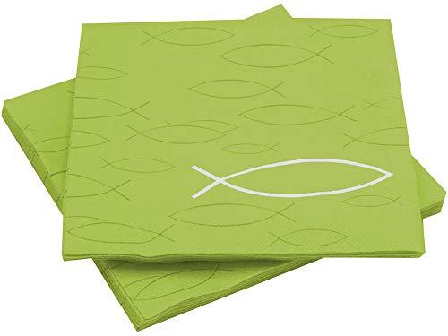 20 Servietten Fisch Grün Kommunion Konfirmation Taufe Deko Tischdeko