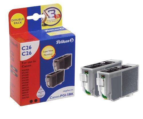 Preisvergleich Produktbild Pelikan Druckpatronen DoppelPack C26C26 ersetzt Canon PGI-5BK, 2x Schwarz (pigment)