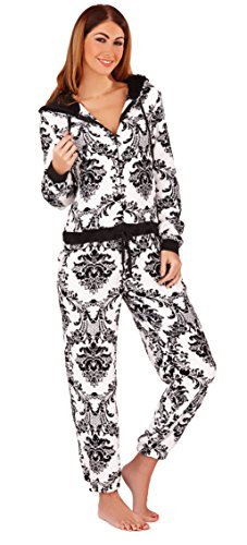 Pretty Womens Baroque Print Corel Fleece All in One Onesie with Solid Hood Lining and Ribbed Cuffs, Black/White, Large - 41jrMbuxJjL - Pretty Womens Baroque Print Corel Fleece All in One Onesie with Solid Hood Lining and Ribbed Cuffs, Black/White, Large