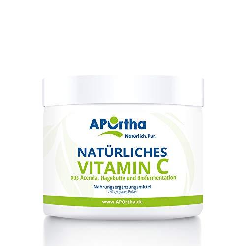 APOrtha natürliches Vitamin C | Acerola Kirsch Extrakt und Hagebutten Extrakt | 250g Pulver