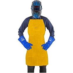 Stamos Welding Group Delantal de soldador de cuero SWA02L (Cuero serraje vacuno, Tamaño L, 91,5 cm x 58,5 cm, Costuras: KEVLAR®, Cierres de clip)